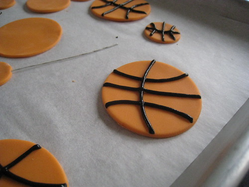 close up of gumpaste basketball