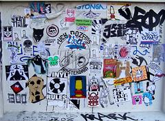 stickercombo (wojofoto) Tags: streetart amsterdam faces stickers bushit stickercombo buyit snub earworm huke putup hukes freaq mattscat lowt erse flosinski wojofoto eurochild trioxin cucroig vinylone crackforyoureyes agebee zekker lukedadube
