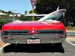 Big Red and surf board (mikesandra4) Tags: car australia surfboard redcar yallingup americancar wildcatcar