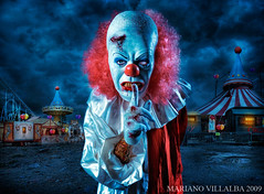 THE MIDNIGHT CLOWN SHOW (Mariano Villalba) Tags: blue light red sky art argentina colors dark wagon blood alone circus clown fear silence midnight circa mariano villalba