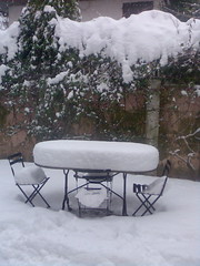 silenzio.... (pierale ) Tags: winter snow tree nature table outside bush chair branches saveearth