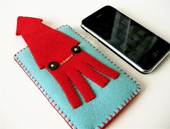NEW! Squid iphone case (hine) Tags: blue red handmade craft felt case squid etsy iphone