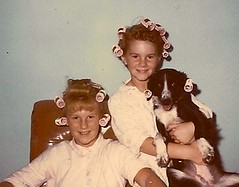 1963-Kids & Dog with Rollers in Hair (ozfan22) Tags: girls dog kids vintage hair rollers blackandwhitedog curlers pincurls