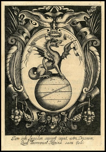 A dragon on top of a globe within an oval cartouche 1645