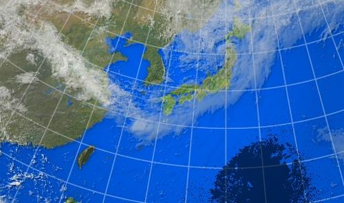 衛星画像に写った皆既日食の影