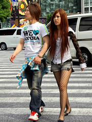 Shibuya Couple with Lace (tokyofashion) Tags: guy stockings girl fashion japan hair japanese tokyo clothing couple lace shibuya fishnet sneakers nike gal holdinghands brand gotcha striped gyaru denimshorts