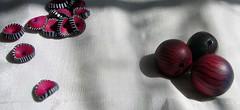 beads violett-pink-stripes (bluemacgirl) Tags: pink beads stripes workinprogress jewelry lila polymerclay selfmade schmuck perlen selbstgemacht violett streifen gestreift dunkellila