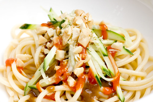 Cold Noodles with Peanut Sauce in bowl
