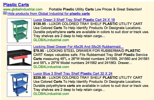 Old Google AdWords Product Results