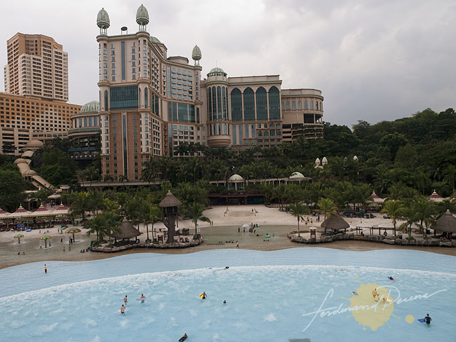 The pool from Sunway Lagoon and the Sunway Pyramid Mall