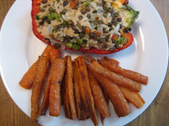 30::2 - Nom. (TwinKnit) Tags: food lunch vegan carrots mip csa stuffedpeppers localfood nom septemberproject alicewaters 101cookbooks artofsimplefood redricepilaf bakedcarrotovenfries