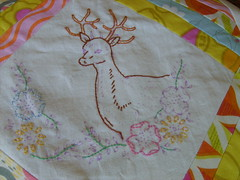 dqs7 progress. (whatisneversaid) Tags: flowers quilt embroidery progress deer stitching handwork miniquilt dqs7