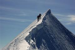 Climbing the summit ridge of Liskamm (East summit 4527m) (sylweczka) Tags: summer snow mountains alps switzerland glacier ridge hochtour liskamm sylweczka