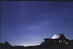 (bensn) Tags: longexposure blue autumn light sky building film night stars 50mm venus pentax superia f14 800 2009 fa lx