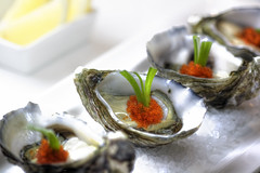 fresh oyster with fish roe (tobikko) and shallot (pvcpvc) Tags: light sea food orange fish color colour detail macro art beautiful up canon photography mirror yummy lemon soft close artistic crystal salt fresh delicious seafood appetizer oyster softbox roe culinary prop styling reflector alternate appetiser shallot entree foodphotography fishroe foodstyling tobikko