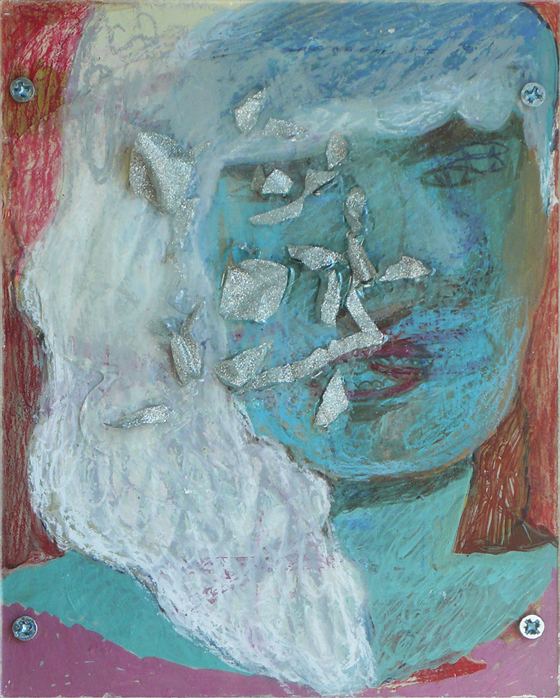 what face / 8 x 10 inches / mixed media on panel / 2009 by you.