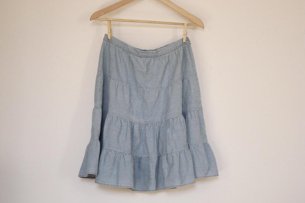 Kimchi & Blue tiered chambray skirt