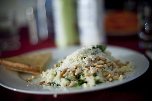 Couscous with Spinach, Pine nuts, and Parm