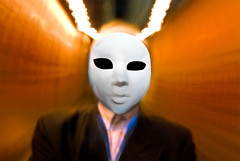 Alien Mind Control (Vermin Inc) Tags: man rabbit bunny face shirt night project frank person grey mask pentax space alien assignment australia melbourne victoria suit motionblur spaceman laneway sodium donniedarko antennae mindcontrol rohypnol sidestreet streetlighting eveing roofies k10d speedflash alienrabbit sigma1224mmf35 hornyet holdingcamerawhilemoving
