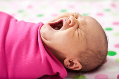 yawn... (crystal.franks) Tags: pink baby color girl bright yawn polka dot newborn swaddle