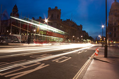Ghostly Bus in Parliament Square {explored} (Olly Plumstead) Tags: road light bus london night square long exposure ghost trails parliament olly con manfrotto plumstead 450d