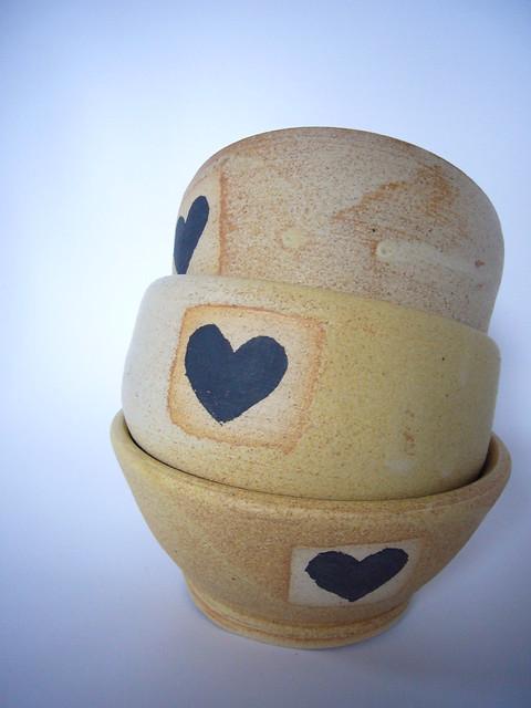 pottery bowls hearts