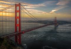 Sunrise over the Golden Gate (Sebastian (sibbiblue)) Tags: sanfrancisco california usa skyline sunrise bay lowlight availablelight ambientlight goldengatebridge nikkor hdr 18105 photomatix nikcolorefex conzelmanroad nikond7000 marinheadhlands