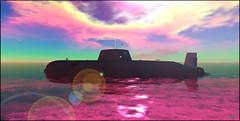 (Bleem Belargio) Tags: ocean sea clouds boat waves navy submarine sl secondlife nuclearsubmarine astuteclass