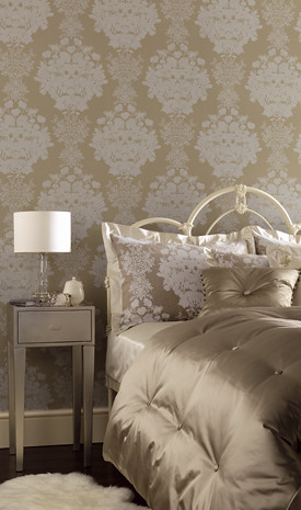 Neutral + luxurious bedroom: Osborne & Little wallpaper