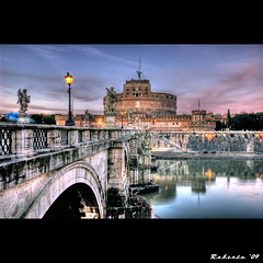 Castel Sant'Angelo (R.o.b.e.r.t.o.) Tags: bridge sunset italy rome roma water statue angel river lights bravo italia tramonto fiume ponte prison tiber tevere roberto residence soe hdr italians imagepoetry mausoleodiadriano moleadriana castellumcrescentii specialtouch holidaysvacanzeurlaub infinestyle bratanesque papalfortress obq lesamisdupetitprince goldenart themausoleumofhadrian sensationalphoto worldsartgallery