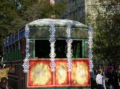 Snowflakes on streetcar float