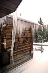 Winter's gentle kiss leaves lasting impressions. (The Jer) Tags: winter snow ice cabin icicle icicles kinmount presidentsdayweekendrespite