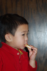 Owen enjoying his smores at Gyu-kaku
