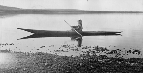 Mrs. Cotter kayaking on the North West River, Hamilton Inlet, Labrador, NL, 1909