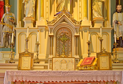 Old Saint Ferdinand Shrine, in Florissant, Missouri, USA - Church altar detail