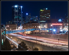 When Downtown came Uptown to You (Dave the Haligonian) Tags: city nightphotography copyright canada lights downtown novascotia headlights lighttrails halifax tailights pedway purdyswharf sigma2470mm nikond90 dsc7150 davidsaunders davethehaligonian whendowntowncameuptowntoyou