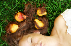 woman hair pears fruit