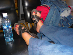 Susie's Toes (ex_magician) Tags: pictures woman feet lady mexico lumix photo interesting toes pretty image photos sandals picture panasonic adobe susie denim baja loreto waterbottle seaofcortez lightroom moik adobelightroom innatloretobay tz5 dmctz5