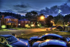 Twilight, a timid, fawn, went glimmering by, And Night, the dark-blue hunter, followed fast. (Dave DiCello) Tags: blue sky car clouds photoshop lights twilight nikon flickr nissan dusk explorer tripod neighborhood flare nikkor rims hyundai hdr highdynamicrange maxima bluecar hondacivic cs4 nissanmaxima photomatix flickrexplore d40 tonemapped explored nissanmotors d40x nissanrims sonatanight evad310 davedicello maximarims