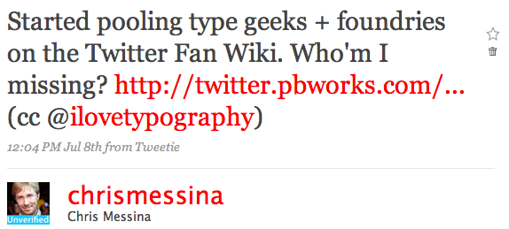 Twitter / Chris Messina: Started pooling type geeks ...