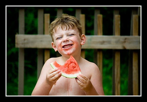 Ben eating watermelon.
