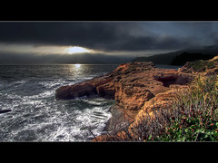 Sunset at Devil's Punch Bowl - HDR (David Gn Photography) Tags: sunset dedication oregon thankyou explore pacificocean newport oregoncoast frontpage tidepools hdr devilspunchbowl testimonial photomatix interestingness27 captainharlock statenaturalarea pacificnorthwestcoast platinumheartaward flickrestrellas quarzoespecial canonpowershotsx1is platinumpeaceaward explore28jul09