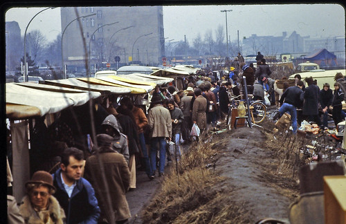 West Berlin - February 1982 - flea market near Potsdamer Platz