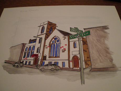 Grace Church - painting in progress