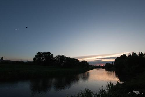 元荒川と夕日