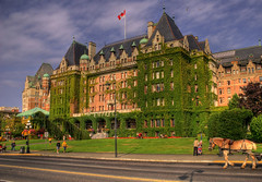 The Empress Hotel, Victoria, British Columbia (Explored) (Brandon Godfrey) Tags: world pictures flowers summer horse canada green grass night clouds