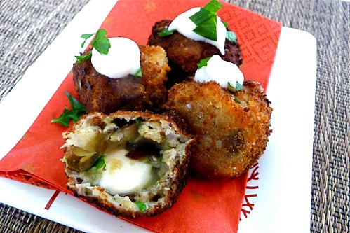Fried Eggplant Balls with Melted Mozzarella Center