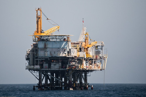 an oil drilling rig offshore