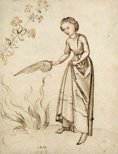 young woman fanning a fire with a bird's wing...