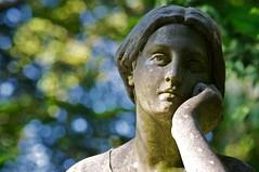 Thoughtfully (melquiades1898) Tags: sculpture friedhof cemetery lady germany nikon hessen frankfurt skulptur dame d90 hauptfriedhof maincemetery